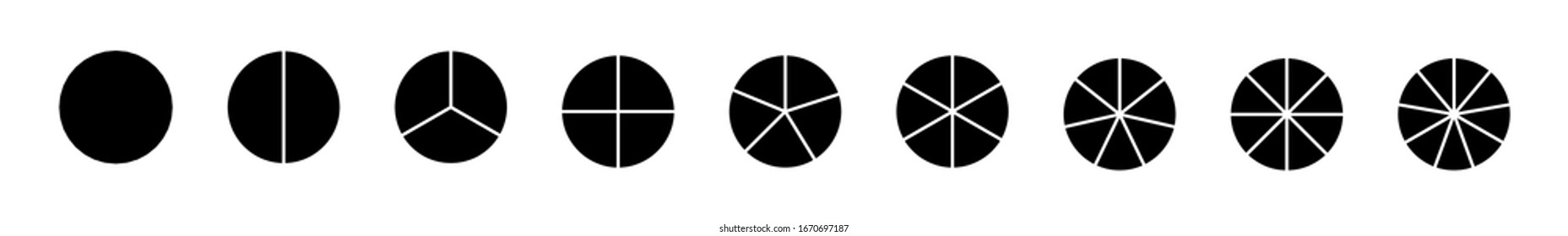 Circle segments set. Infographic vector illustration. Various number of sectors divide the circle on equal parts.