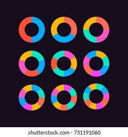 circle segments set vector  chart pie wheel