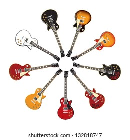 Circle Set of Electric Guitars