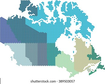 Circle shape Canada map on white background.Colored by states. Vector illustration.