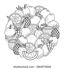 Circle shape coloring page with fruits. Black and white outline background with strawberry, watermelon, apple, grape, pineapple and more. Template for relax coloring book. Vector illustration