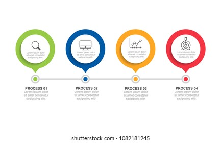 Circle shape infographic design template with four option or step for presentation