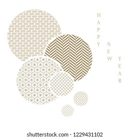 Circle shape with Japanese pattern template background. Gold geometric vector.