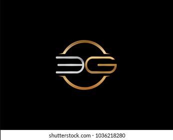 EG circle Shape Letter logo Design in silver gold color