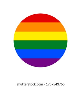 Circle shape LGBT rainbow pride flag symbol. The sign created for popularizing and support the LGBT community in social media. Design graphic element is saved as a vector illustration in EPS file