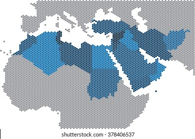 Circle shape of Middle east and nearby countries map. Vector illustration