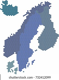 Circle shape Nordic counties map on white background. Vector illustration.