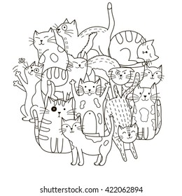 Circle shape pattern with cute cats for coloring book. Vector illustration