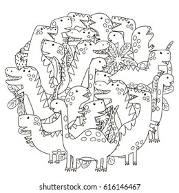 Circle shape pattern with cute dinosaurs for coloring book. Vector illustration