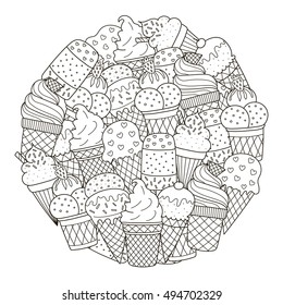 Circle shape pattern with cute ice creams for coloring book. Vector illustration