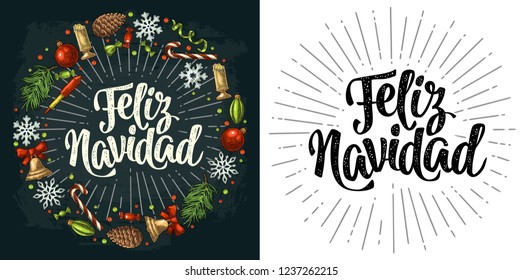 Circle shape set for Merry Christmas. Feliz Navidad calligraphy lettering with salute. Candy, bell, serpentine, rocket, snowflake, pine cone, fir branch, toy. Vector vintage color engraving on dark