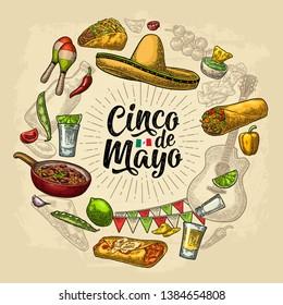 Circle shape set with mexican traditional food with Guacamole, Quesadilla, Enchilada, Burrito, Tacos, Nachos. Cinco de Mayo handwriting lettering. Vector vintage engraving illustration on beige