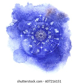 Circle with signs of zodiac and constellations on blue watercolor background. Zodiacal system and ancient calendar. Hand drawn horoscope illustration, vector illustration