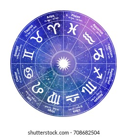 Circle with signs of zodiac on watercolor background. Vector illustration. Freehand drawing