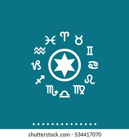 Circle with signs of zodiac pictogram isolated on green background. Simple flat horoscope vector icon.