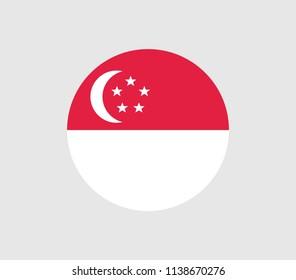 Circle Singapore flag. Vector Singapore flag.