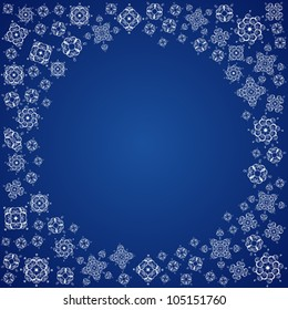 Circle Space and White Snowflakes on Blue Background, Vector Version