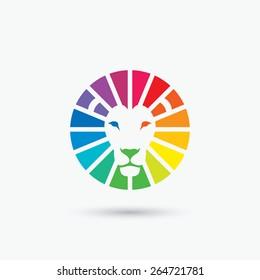 Circle spectrum lion sign - vector illustration