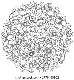 Circle spring and summer doodle ornament. Hand drawn mandala art with flowers and leaves black and white outline. Zentangle pattern for coloring book pages for adults and kids.