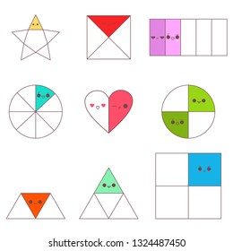 Circle, square, triangle, star and heart fractions with cute kawaii emotions. Vector cartoon set isolated on a white background.