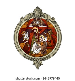 Circle stained glass with the Christmas and Adoration of the Magi scene in beige and brown colors in an engraved decorative frame. Vector illustration