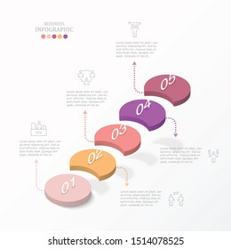 Circle stairs infographic. Abstract elements , options, parts or processes. Vector business template for presentation and creative concept.