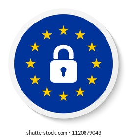 Circle sticker icon with the EU flag and padlock.