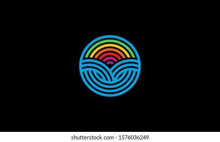 Circle of Sun Rainbow Farm Field Summer Agriculture Logo Design