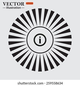Circle. The sun. Rays. Black icons on white.  icon of info,   vector illustration, EPS 10