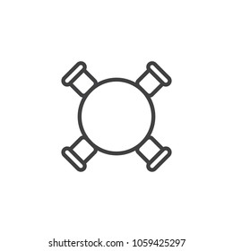 Circle table and chairs top view outline icon. linear style sign for mobile concept and web design. Furniture simple line vector icon. Symbol, logo illustration. Pixel perfect vector graphics