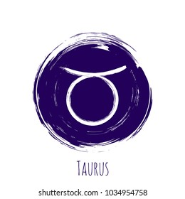 Circle Taurus zodiac sign, hand painted round horoscope symbol vector. Astrological icon isolated. Taurus astrology zodiac symbol clip art on white background.
