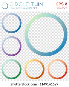 Circle thin geometric polygonal icons, amazing mosaic style symbol collection. Modern low poly style, modern design.