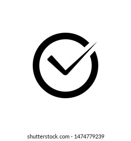 Circle tick mark. approval Icon Vector isolated on white background