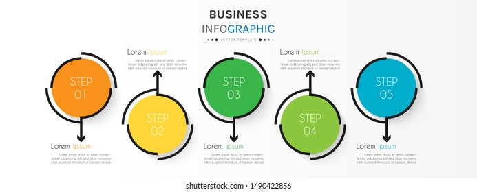 Circle timeline infographic design element and number options. Business concept with 5 steps. Can be used for workflow layout, diagram, annual report, web design. Vector Illustration.