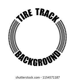 Circle tire track silhouette with sample text isolated on white background