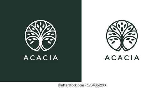 Circle tree logo icon template design. Round garden plant natural line symbol. Green branch with leaves business sign. Vector illustration.