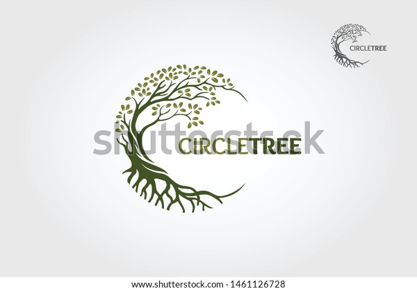 Circle Tree vector logo this beautiful tree is a symbol of life, beauty, growth, strength, and good health.