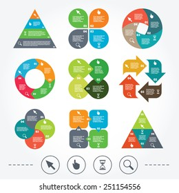 Circle and triangle diagram charts. Mouse cursor and hand pointer icons. Hourglass and magnifier glass navigation sign symbols. Background with 4 options steps. Vector