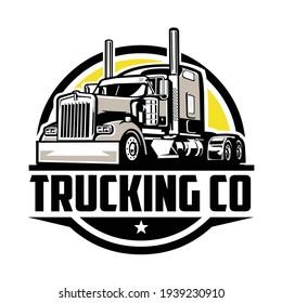 Circle trucking company logo. Bold badge emblem logo concept. Ready made logo template set vector isolated