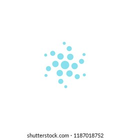 Circle twirling Dots vector icon.Air or water cleaning and ventilation logo template. Round technology logotype. SImple flat style sign.Blue fresh abstract symbol.Isolated vector illustration.