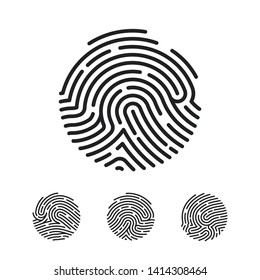 Circle Unique Fingerprint icon design for app. Finger print flat scan. Vector illustration isolated on white background