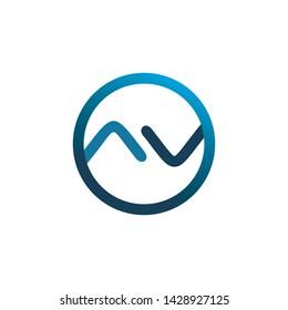circle v arro line logo design