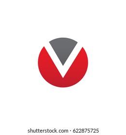circle v logo, initial logo ov, vo, v inside o rounded letter negative space logo red gray