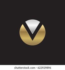 circle v logo, initial logo ov, vo, v inside o rounded letter negative space silver gold