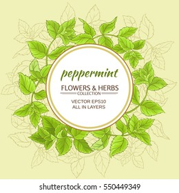 circle vector frame with green peppermint leaves