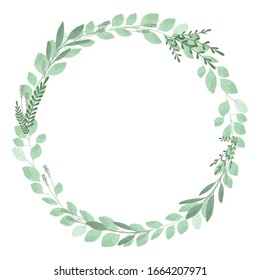 circle vintage frames with leaves and eucalyptus. Vector image