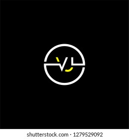 Circle vj logo letter design concept in yellow and white colors