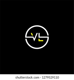 Circle vl logo letter design concept in white and yellow colors