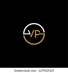 Circle vp logo letter design concept in gold colors