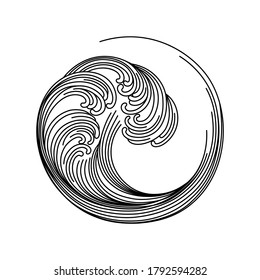 Circle wave graphics. Sea wave storm linear style. Idea for a tattoo.